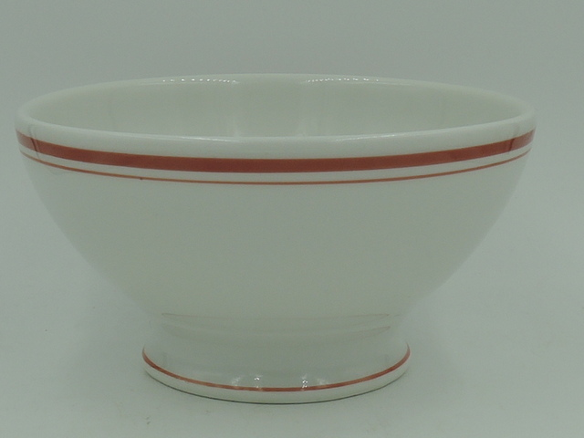 Vintage French Red & White Cafe Au Lait Bowl