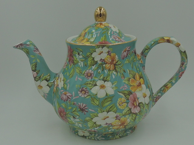 Large Vintage Arthur Wood & Son Chintz Teal Teapot 6 Cups
