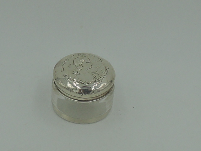 Antique Sterling Silver Lid w/Embossed Lady Profile & Glass Petite Vanity Jar 1902