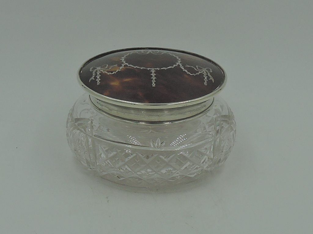 Sterling Silver & Shell Lid w/Pique & Cut Glass Ladies Vanity Jar 1931