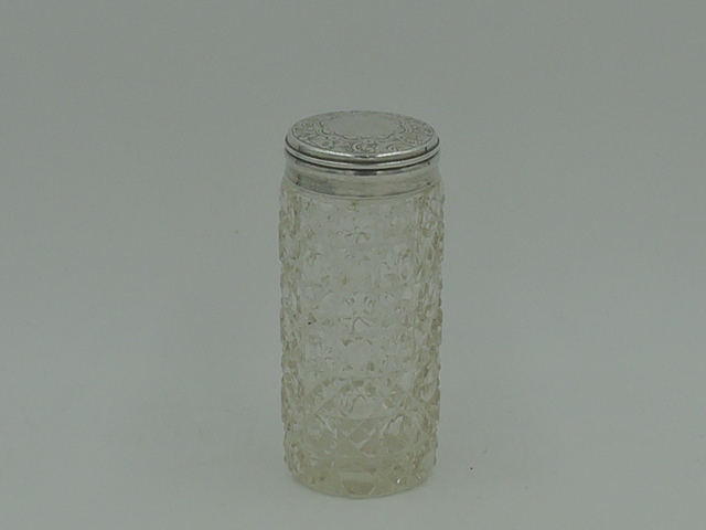 Antique Victorian Sterling Silver Lid & Cut Glass Tall Vanity Jar London 1878