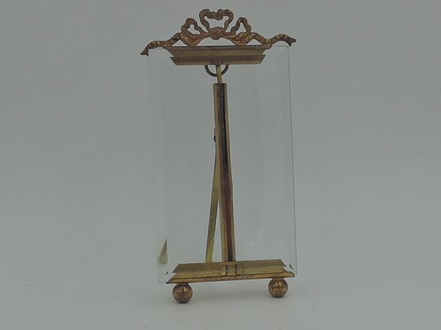"Antique French Gilt Ormolu Brass Photo Frame 4"" x 2 1/2"" Picture Louis XVI Bow"