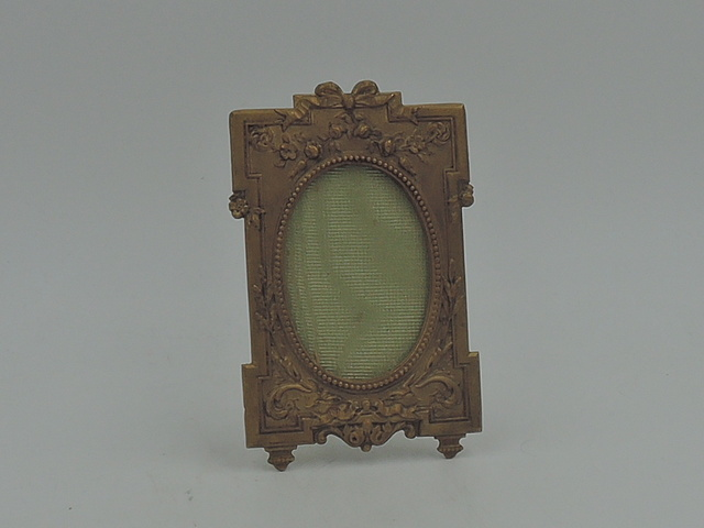 """Antique Ornate French Brass Ormolu Petite Photo Frame 2"""" x 1.25"""" Picture"""