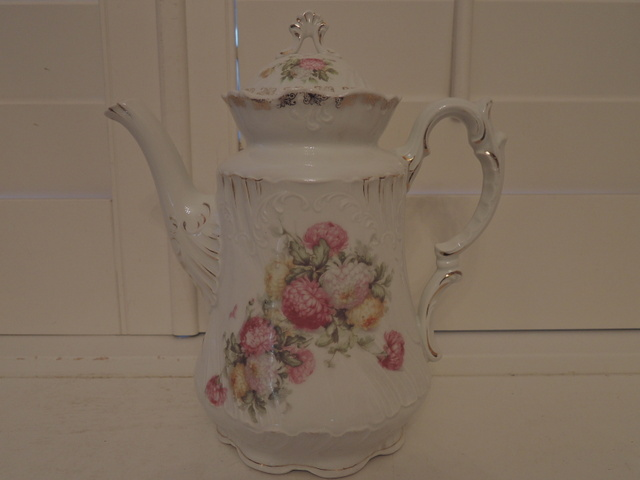 Antique Large Weimar German Porcelain Teapot Pink Mums 1880's