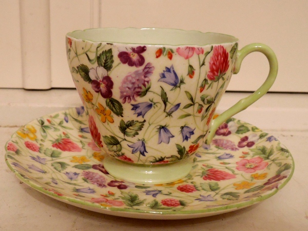Vintage Shelley Chintz Countryside Cup & Saucer Fine Bone China