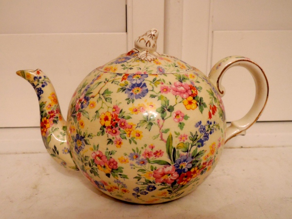 Vintage Royal Winton Chintz Floral Feast Teapot c.1930