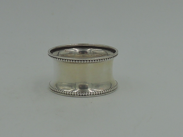 Antique English Sterling Silver Napkin Ring Beaded Border Hallmark 1921