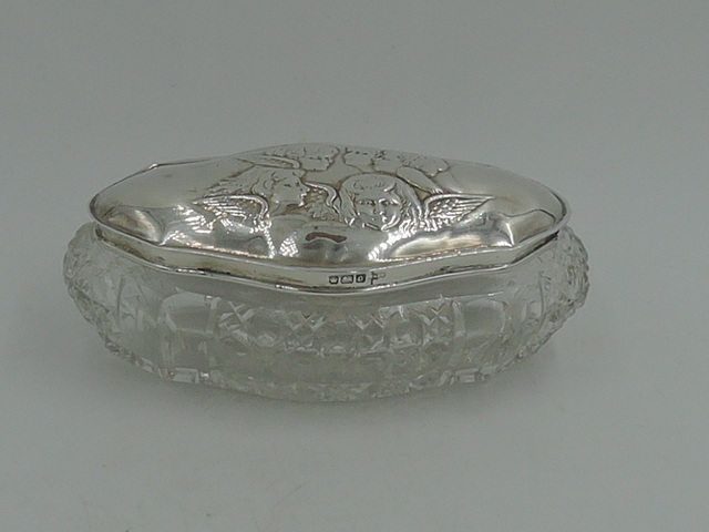 Antique English Sterling Silver Lid & Star Cut Glass Vanity Jar Reynolds Angels