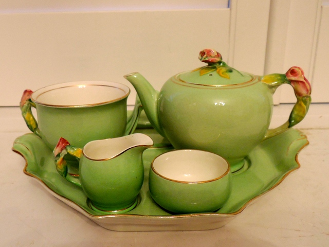 Vintage Royal Winton Green Rosebud Breakfast Set Tea for One