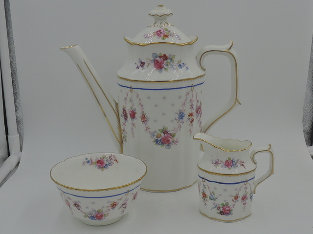 Royal Crown Derby Melrose Tea Set Teapot/Coffee Pot Creamer Sugar Bowl