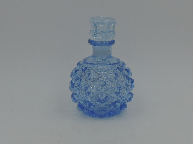 Vintage Light Blue Depression Cut Glass Perfume Bottle w/Dauber