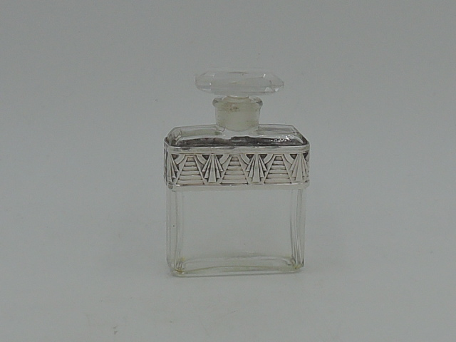 Vintage French Chanel Glass Perfume Bottle w/Art Deco Silver Band & Dauber