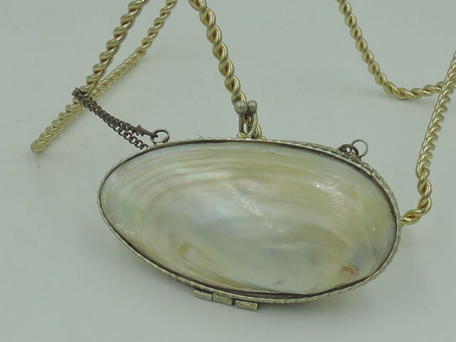 Vintage French Mother of Pearl Coin Purse Rosary Pouch Holder