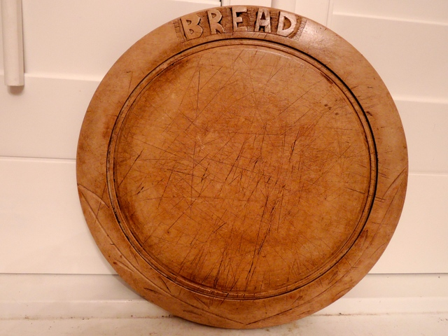 Vintage English Carved Wooden Bread Cutting Board Wood