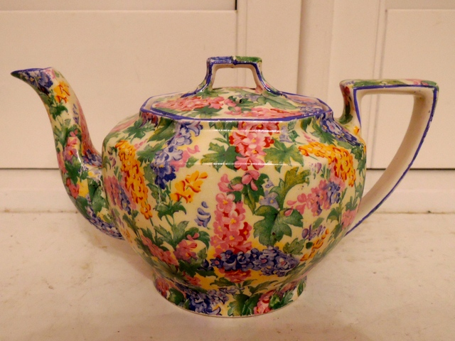 Vintage Royal Winton Chintz Somerset Ajax Shape Teapot 1930's