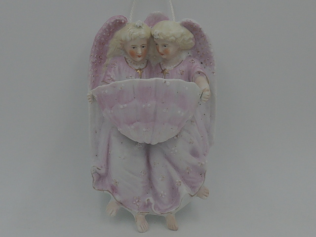 Vintage French/Belgium Pair of Bisque Angels Holy Water Font