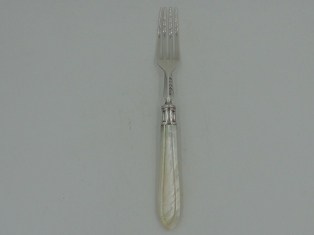 Sterling Silver & Mother of Pearl Handle Dinner Fork Hallmarked 1867