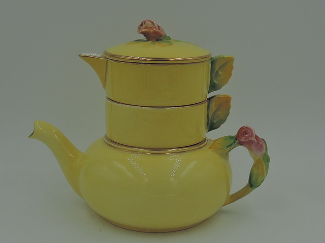 Vintage Royal Winton Yellow Rosebud Stacking Stacked Teapot Tea For One