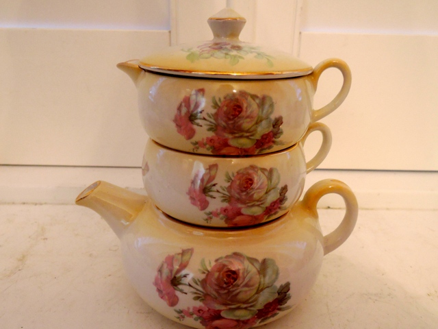 Vintage James Kent Pink Roses Stacking Stacked Teapot Tea for One Staffordshire