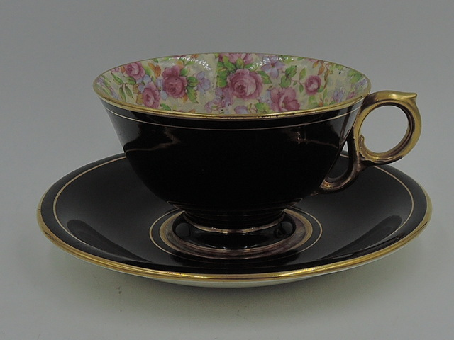 Vintage Royal Winton Chintz English Rose Best Gold Black Cup & Saucer