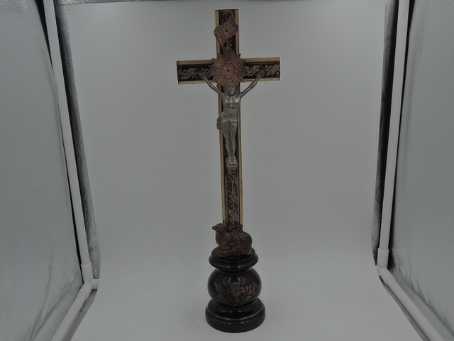 Vintage French Ebony Wooden Altar Cross Crucifix Jesus Lamb Standing Religious