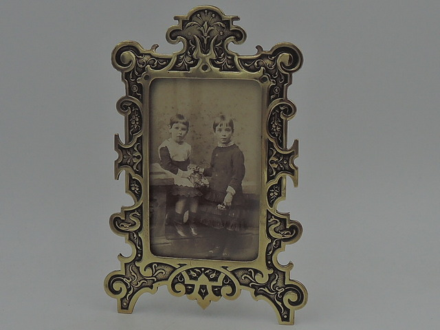 "Vintage French Ornate Brass Photo Frame 3 1/2"" x 2 1/2"" Picture"