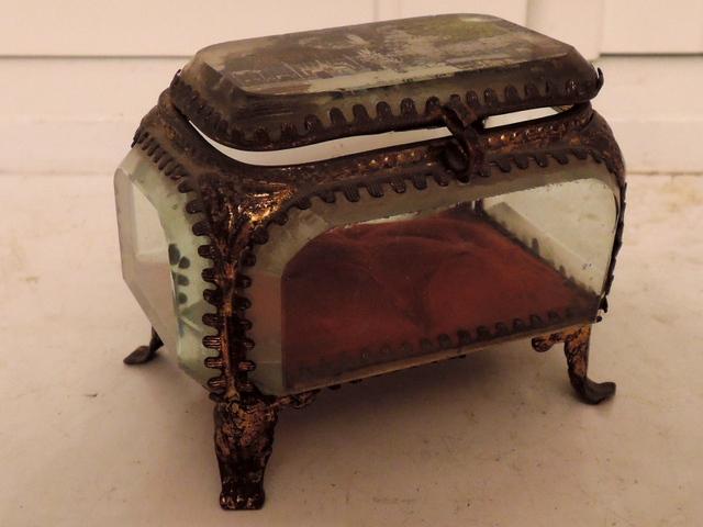 Antique French Gilt Ormolu Jewelry Casket Box Lourdes Photo 1880's