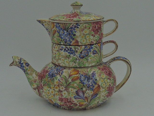 Vintage Royal Winton Chintz Crocus Stacked Teapot Stacking Tea For One