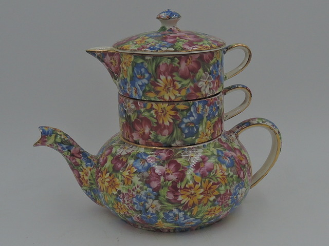 Vintage Royal Winton Chintz Joyce-Lynn Stacked Stacking Teapot Tea For One