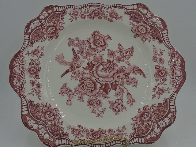 Vintage Crown Ducal Bristol Red Transferware Handled Cake Plate