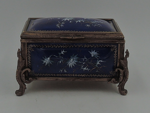 Antique French Tahan Cobalt Blue Enamel Gilt Ormolu Jewelry Casket Box
