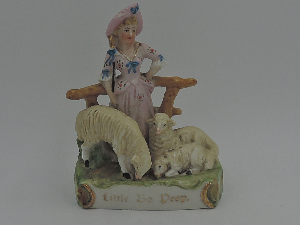 Antique Victorian German Porcelain Fairing Little Bo Peep & Sheep Figurine 1880's