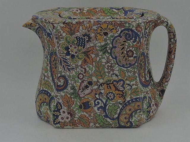 Vintage Chintz Paisley Large Teapot Pottery Mid Century Modern