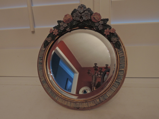 Original English Beveled Barbola Mirror Gesso Pink Roses Ladies Dresser