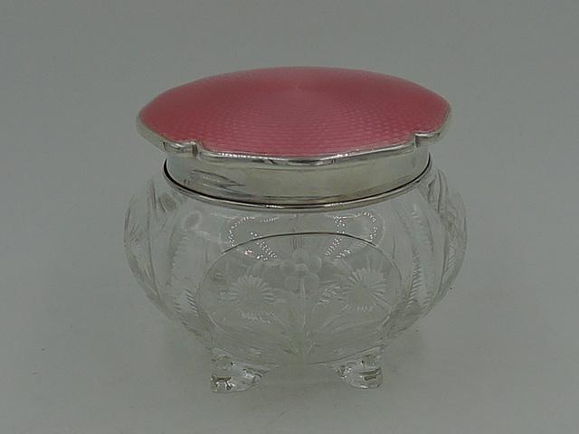 Antique Sterling Silver Pink Guilloche Enamel Lid & Webb Cut Glass Vanity Jar