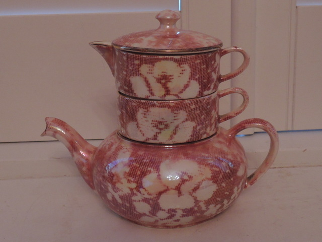 Vintage Royal Winton Chintz Pink Rose Brocade Stacked Stacking Teapot Luster/Lustre