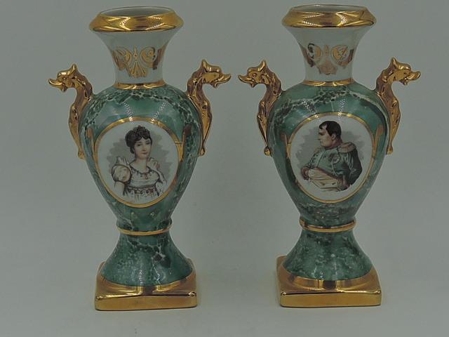 Vintage Pair of Limoges Porcelain Vases Napoleon & Josephine Serpent Handles