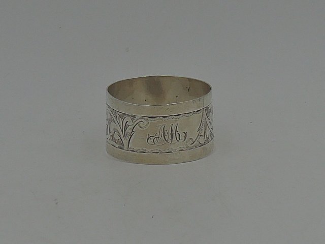 Antique English Sterling Silver Napkin Ring Initial AM Chester 1913