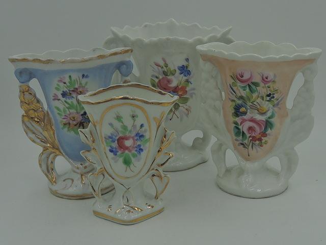 Gorgeous Antique French Set of 4 Vieux Old Paris Porcelain Vases c. 1900