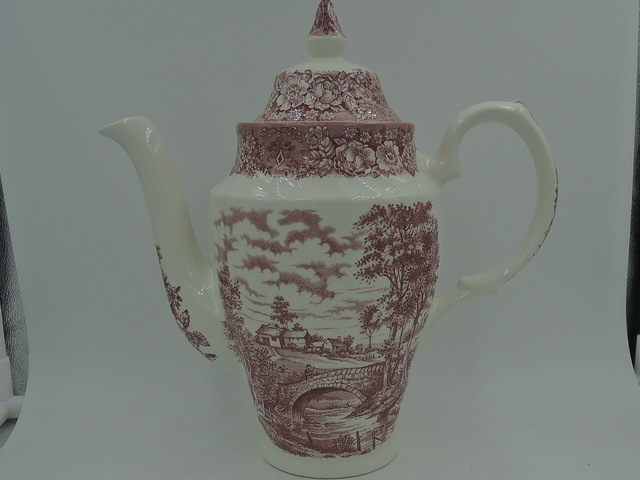 Vintage British Anchor Memory Lane Ironstone Red Transferware Coffee Pot Teapot