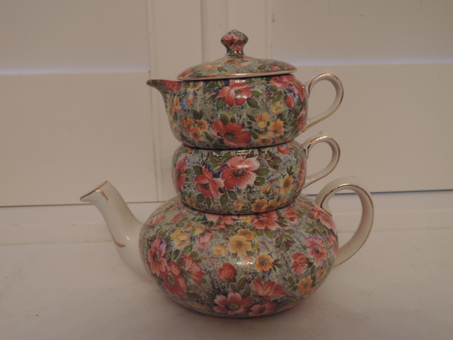 Vintage Lord Nelson Chintz Briar Rose Stacking Teapot Tea For One