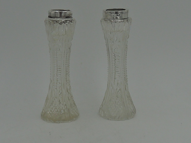 Antique Pair of English Sterling Silver Collars & Cut Glass Vases