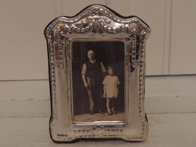 "English Sterling Silver Ornate Photo Frame 2.25"" x 1.5"" Picture"
