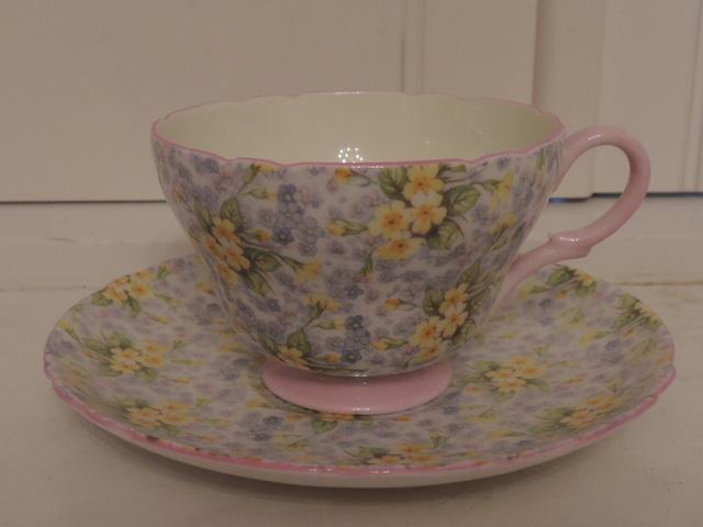 Vintage Shelley Primrose Chintz Cup & Saucer Pink Trim