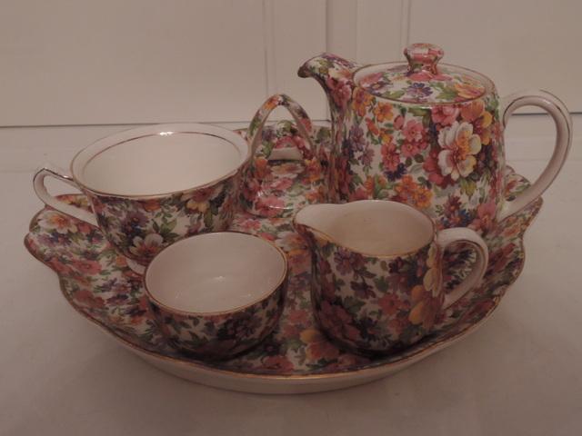 Vintage James Kent Chintz Du Barry Breakfast Set Tea For One Teapot 1950's