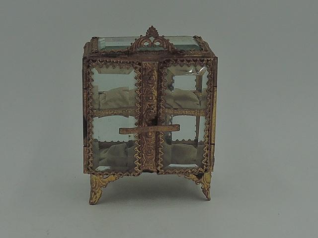Vintage French Ormolu Jewelry Casket Display Box w/Beveled Glass Curio