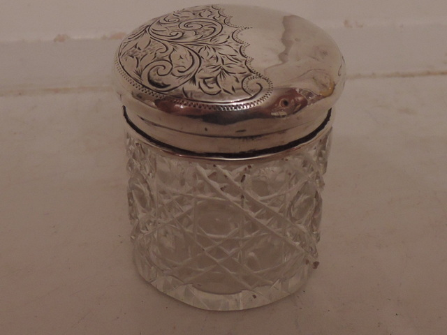Antique English Sterling Silver Lid & Cut Glass Star Base Ladies Vanity Jar 1908