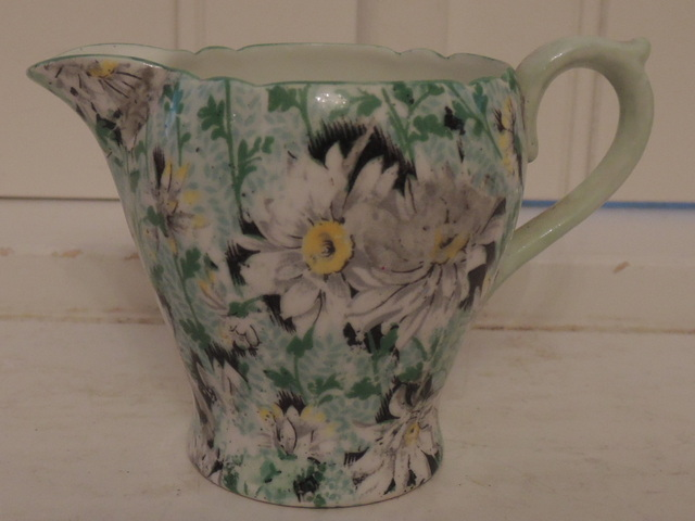 Vintage Shelley Chintz Green Daisy Creamer/Pitcher Bone China