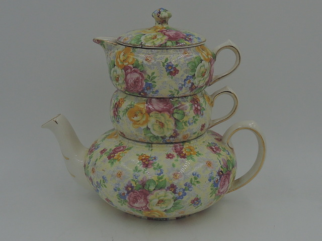 Vintage Lord Nelson Ware Chintz Rose Time Stacked Stacking Teapot Tea For One