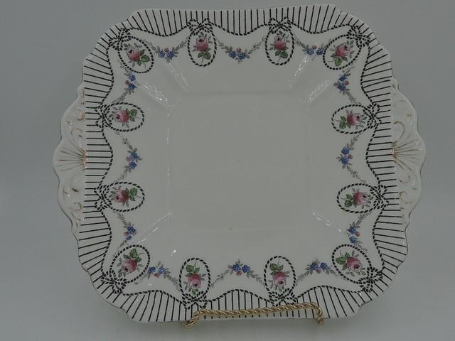 Vintage Shelley Handled Cake Serving Plate Pink Roses 10886